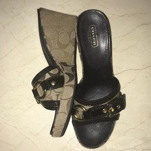 vintage COACH wedge heel open toe sandals